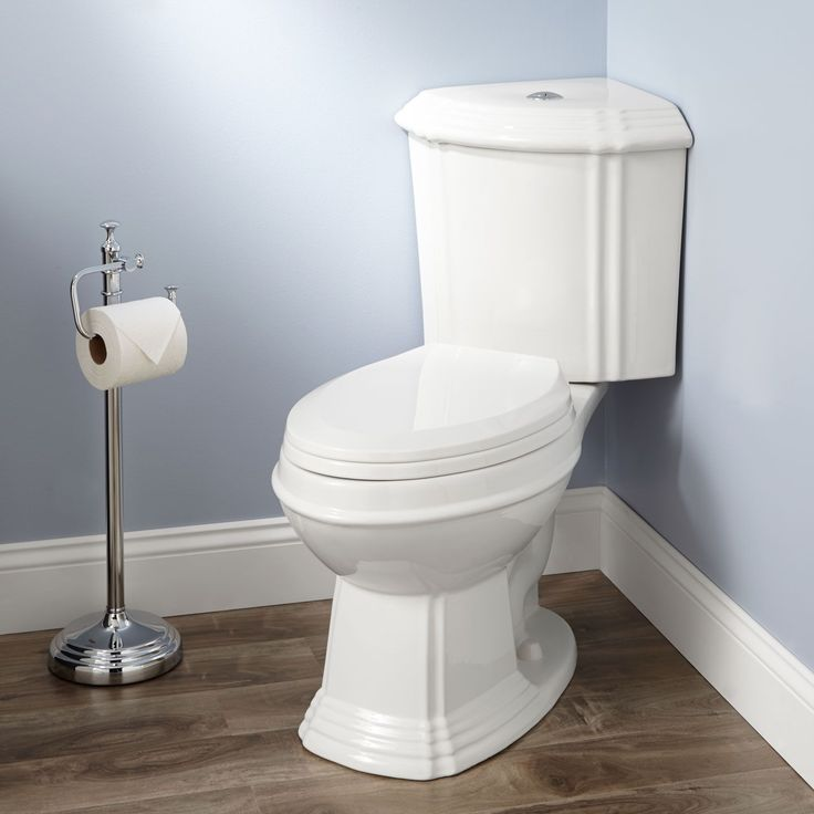 Regent Dual-Flush Corner Toilet(Elongated Bowl/Chrome Flush Button on Lid/White)