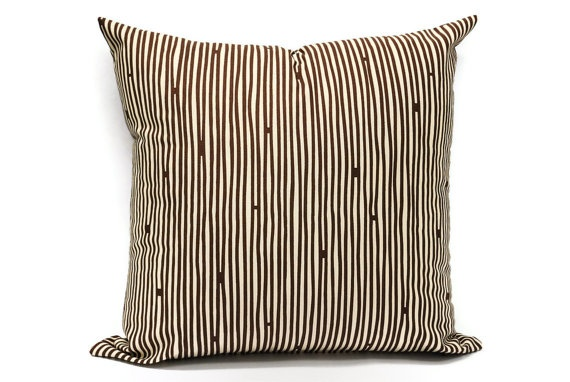 Brown Stripe Pillow cover  18x18 inch Decorative by LilachOren, $23.00