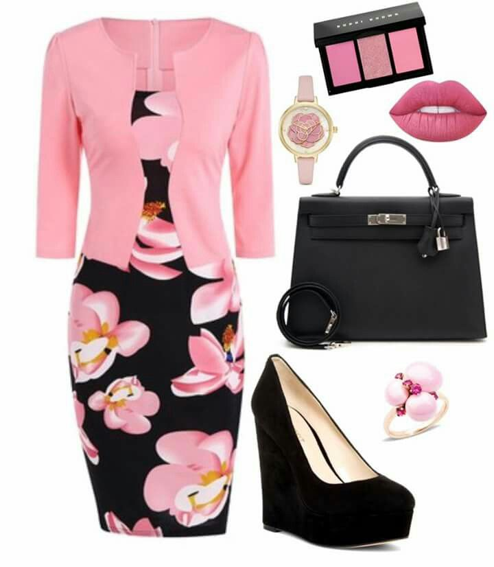 PERFECTION,,,,,all but the shoes. I would go with a pink or black pump, nude or beige hose.