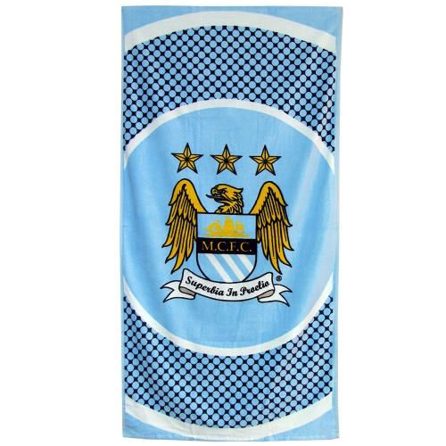 MANCHESTER CITY Large Velour Beach Towel featuring the City club crest. Approx 150 cm x 75 cm. Official Licensed Manchester City towel. FREE DELIVERY ON ALL OF OUR GIFTS