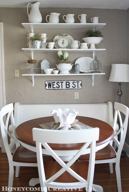 small dining room decor dining room decor ideas small cottage style dining room with round table painted white chairs and bench simple white enamel ware decorates the space