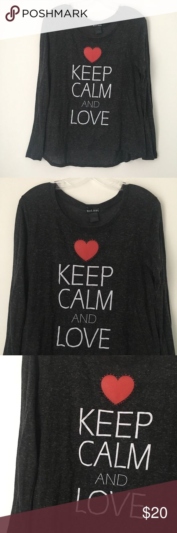 """KEEP CALM AND LOVE RHINESTONE HEART TEE SHIRT TOP! RARE - Gray / White / Red Faux Rhinestone Embellished Heart Love Valentine's Day """"KEEP CALM AND LOVE"""" Cute Long Sleeve High Low Hem Knit Pullover Tee Shirt Top.  Brand new. Never used. Material has INTENTIONAL pilling. NO flaws.  Tagged as XL but BEST FOR WOMEN'S MEDIUM or LARGE INSTEAD!  •Chest- 19"""" across •Length (shoulder to bottom)- 23.5"""" long (FRONT) // 26"""" long (BACK)  75% Polyester + 25% Rayon.  •NO holds, returns or refunds allowed…"""