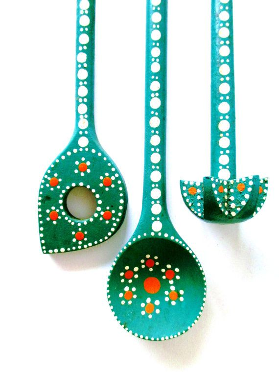 This fabulous set of green kitchen utensils comes from a German farm kitchen…