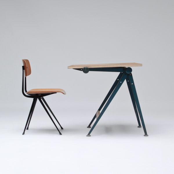 Drafting table and chair by Wim Rietveld & Friso Kramer