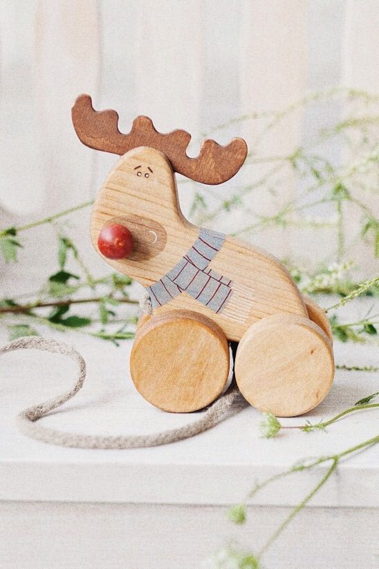 Handmade wooden toy, wooden pull reindeer toy by Friendly Toys