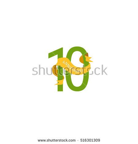 10 Years Anniversary with Yellow Ribbon. Logo Celebration Isolated on White Background