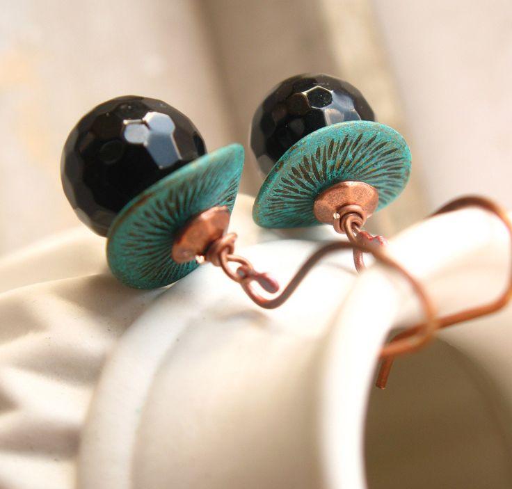 """Boucles d'oreilles """"Teal"""" en Onyx noir : Boucles d'oreille par callenana"""