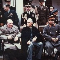 This photo shows the three leaders of the allied forces (Churchill, Roosevelt, and Stalin) together at the Yalta Conference near the end of World War II. Roosevelt died about two months after this photo was taken - 1945