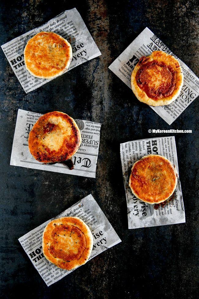 How to make popular Korean winter street food - Korean sweet pancakes (Hotteok). It's the ultimate sweet comfort!   MyKoreanKitchen.com