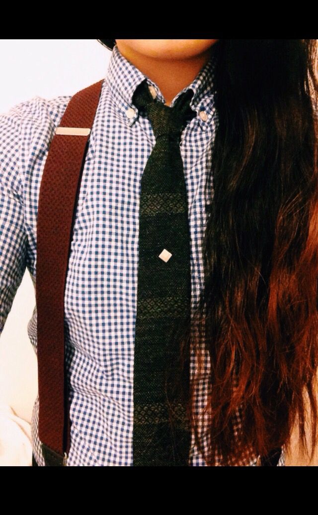 Suspenders and tie.