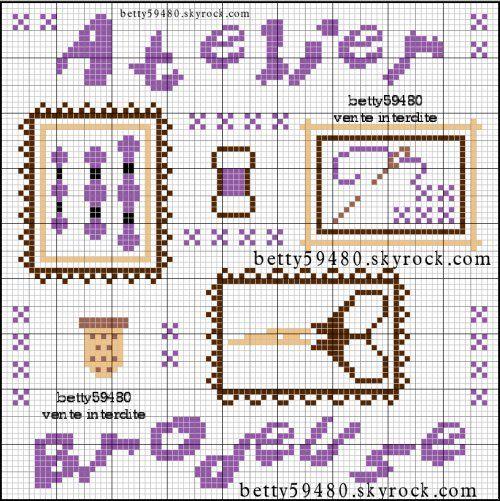 brodeuse - embroiderer - atelier - broderie - Point de croix - cross stitch - Blog : http://broderiemimie44.canalblog.com/