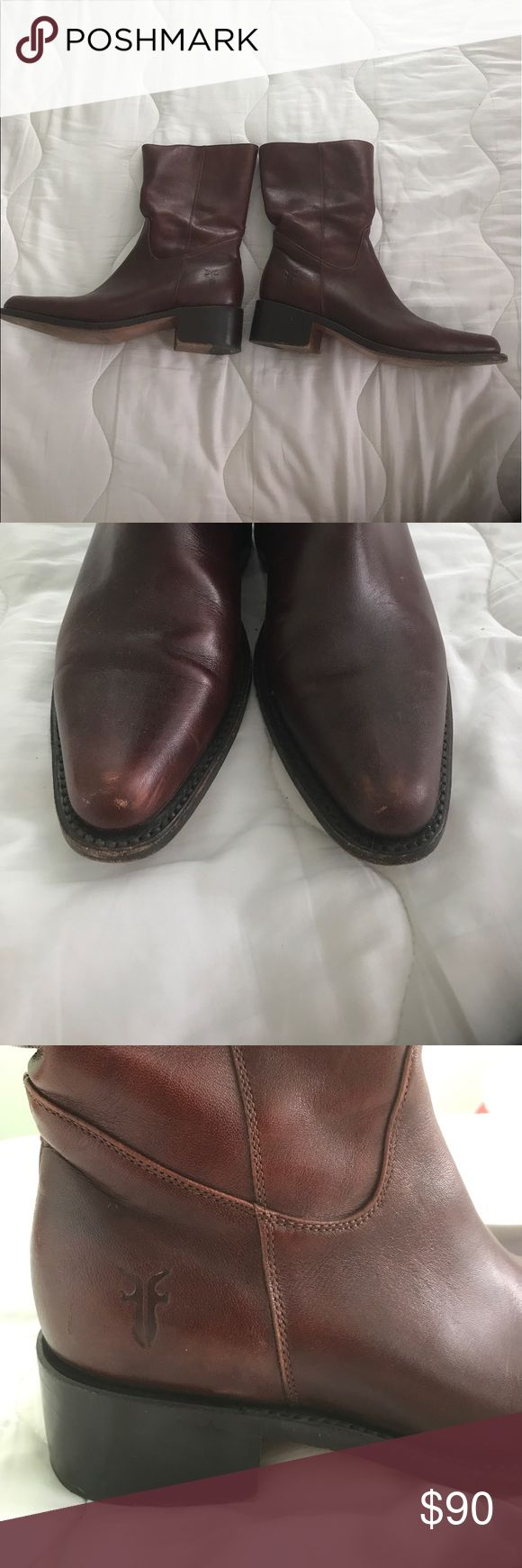 Frye Rush Women's cherry-brown mid-calf boots Frye Rush #77040 Women's cherry brown mid-calf boots, show some wear on the toe ( see picture), otherwise in good condition. Please feel free at ask any questions or for more pictures Frye Shoes Ankle Boots & Booties