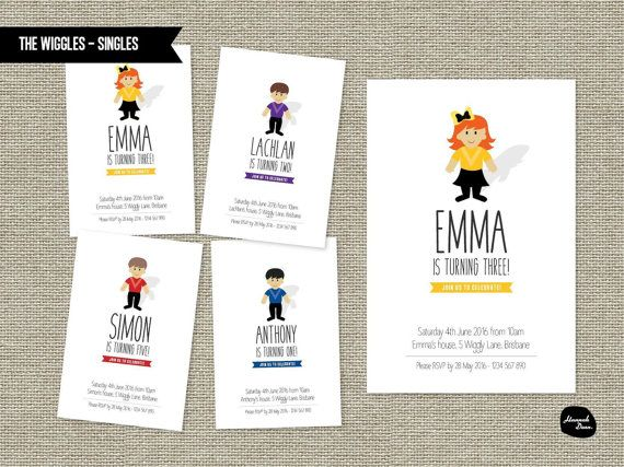 WIGGLES CHARACTER INVITATION Personalised by HannahDeanDesigns