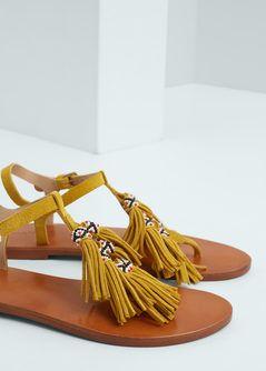 Sandales cuir franges                                                                                                                                                      Plus
