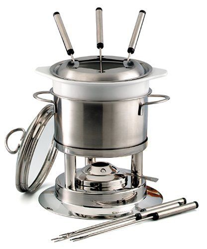 Chantal Brushed Stainless Steel 5 Function Fondue by Chantal. $99.95. Dishwasher safe. designed for meat and vegetable fondues. set up for all types of fondues, plus a double boiler and mixing bowl as well.. excellent for chocolate and cheese fondues or serving hot dips.. Chantal has created a unique, multi-purpose Brushed Stainless Steel 5 Function Fondue that is sure to satisfy your entertaining and cooking needs.  Ideal for both meat and cheese fondue courses!  Double Boiler c...