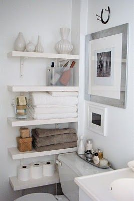 Bathroom Shelving- Niche MUCH prefer this look for the guest bath.