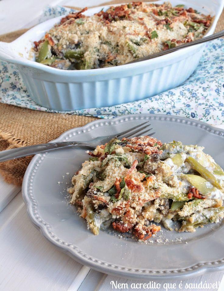 Nem acredito que é saudável!: Gratinado de feijão verde e cogumelos . Green bean casserole