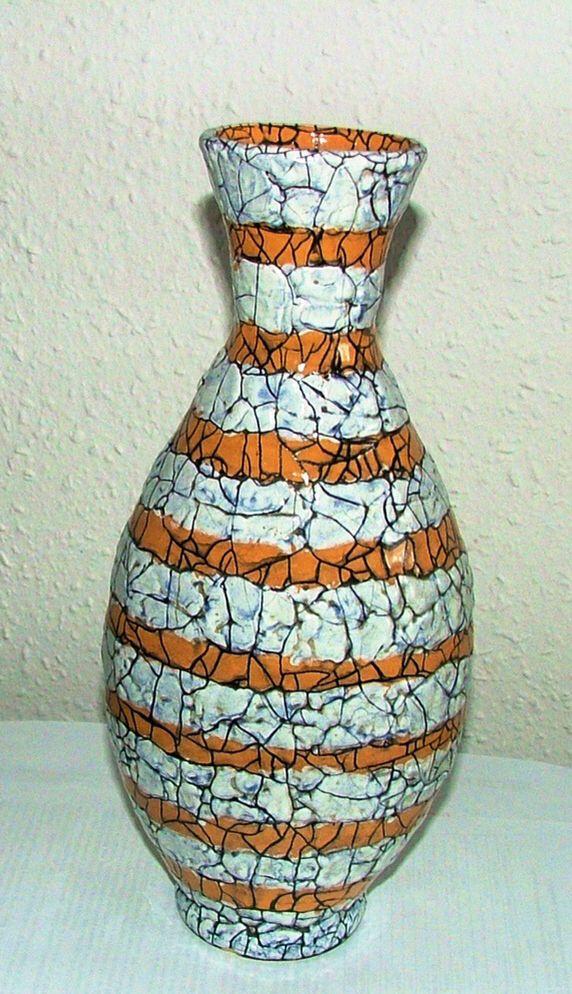 Mid size vase with orange and white stripes