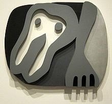 Jean Arp / Hans Arp - Shirt Front and Fork, painted wood, 1922