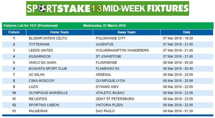 #SportStake13 Midweek Fixtures - 07 March 2018  https://www.playcasino.co.za/sportstake-mid-week-fixtures.html