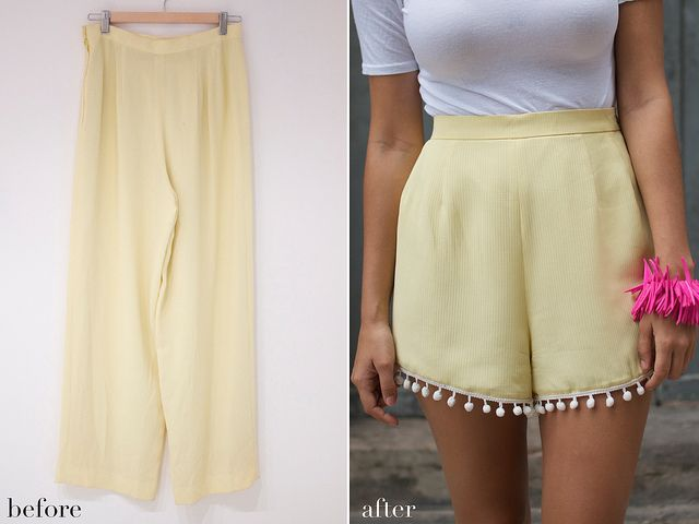 before and after diy pom pom shorts
