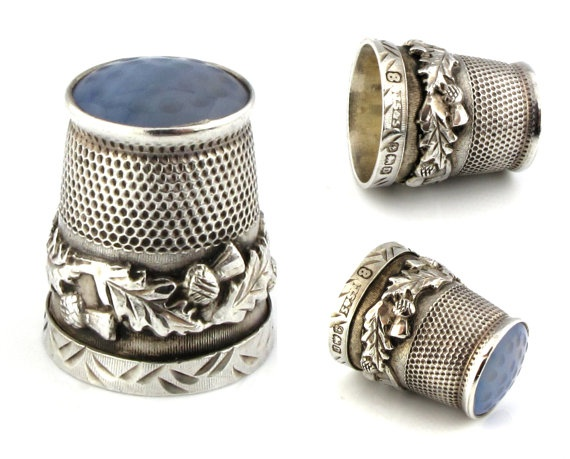 I think this is such a pretty little thing. Vintage Silver Thimble with Thistle Design 1928.