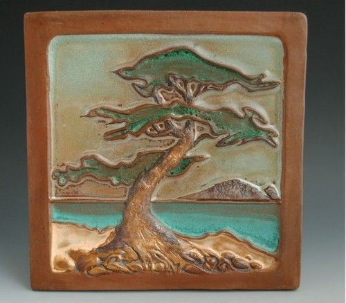 Arts and Crafts Style Tile Relief Lone Pine Landscape