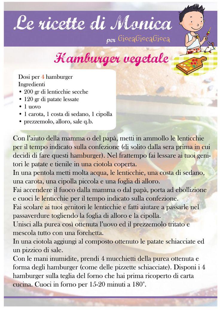 Nuova ricetta per bambini da scaricare sul blog! http://www.giocagiocagioca.com/2016/01/gli-hamburger-di-lenticchie.html