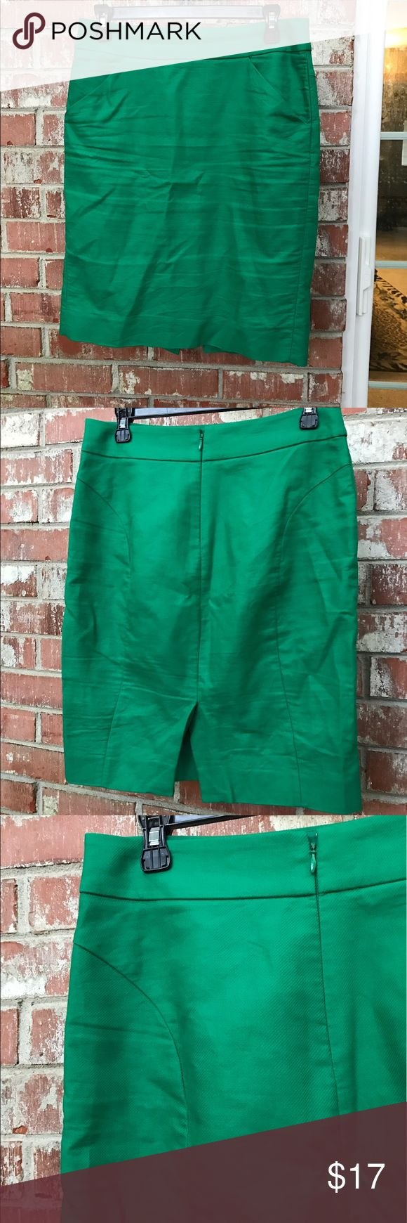 """J. Crew Green Pencil Skirt Factory. Kelly Green. The Pencil Skirt. Kelly Green. Runs bigger. 2 pockets. 15"""" waist, 22"""" long. In excellent condition. J. Crew Skirts Pencil"""