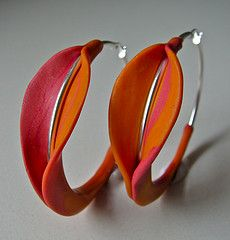 Natura earrings by Donna Greenberg-USA  Sterling and polymer