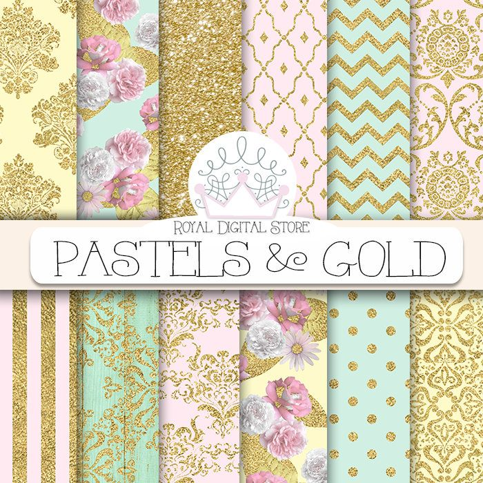 "Gold Digital Paper: ""PASTELS & GOLD"" with gold damask pattern, gold digital paper in pastel colors, pink, mint, wood, glitter for cards #gold #wedding #damask #glitter #pink #mint #floral #romantic #scrapbookpaper #digitalpaper #polkadots #planner #partysupplies"