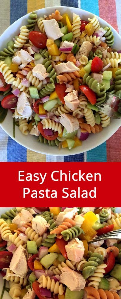 Chicken Pasta Salad Recipe - Awesome Main Dish Pasta Salad, Makes Complete Dinner! | MelanieCooks.com