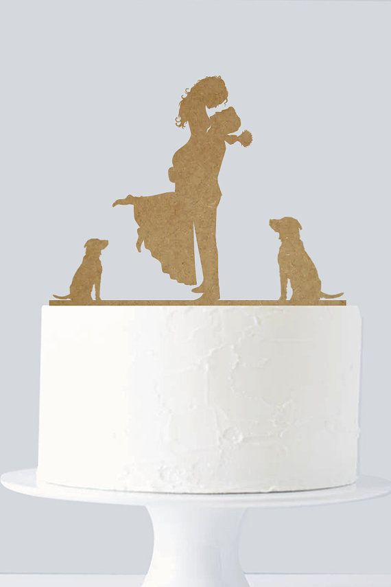 Rustic Wedding Cake Topper - Wooden Cake Topper Rustic Wedding Theme - Bride and Groom - Custom Dogs A619