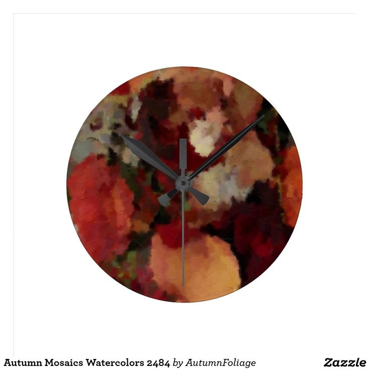 Autumn Mosaics Watercolors 2484 Round Clock