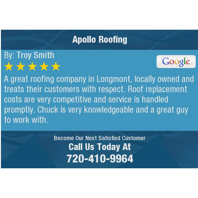 A great roofing company in Longmont, locally owned and treats their customers with...