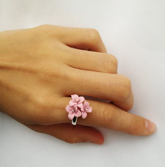 Pink  polymer clay ring, pastel color, ring with three flowers, best gift for her, adjustable ring on Etsy