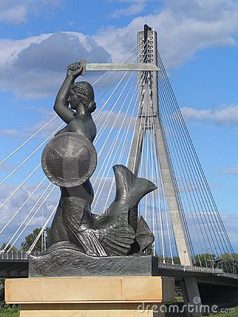 Mermaid and Swietokrzyski bridge in Warsaw, Poland