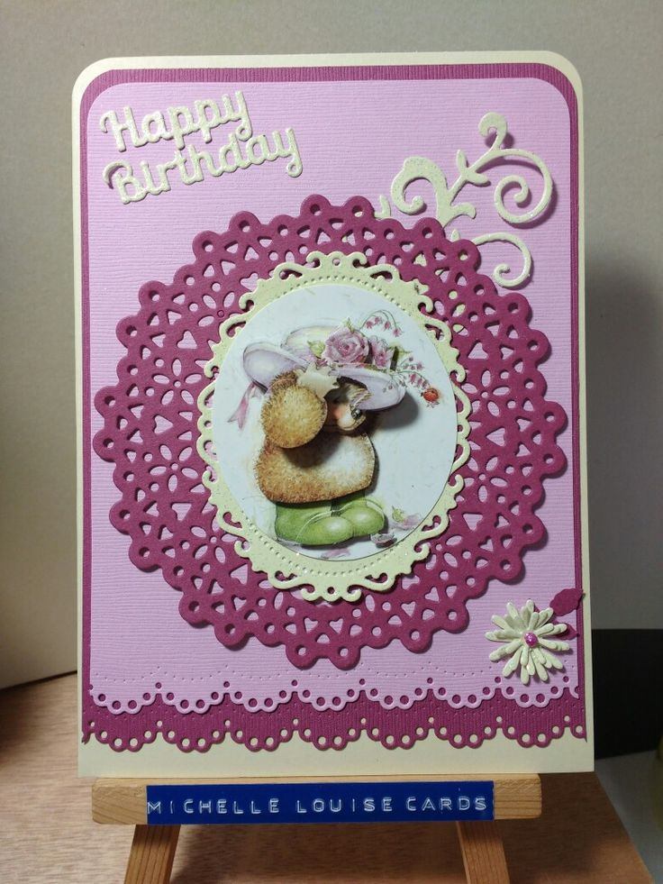 Happy Birthday decoupage hedgehog card