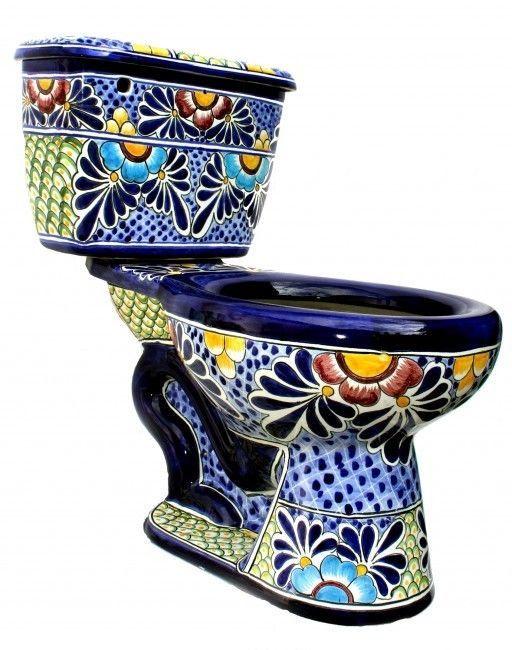 "Mexican Talavera Toilet Set Bathroom Handcrafted ""Cancun"""
