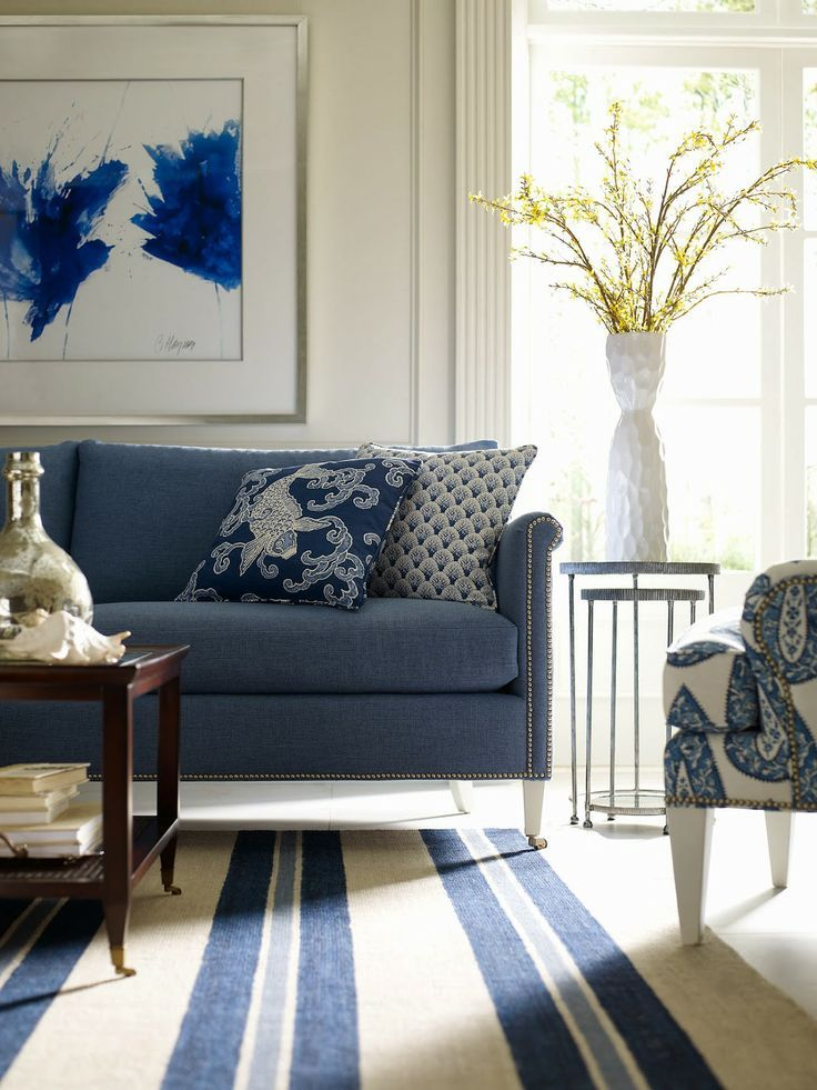 The Best of the 2014 Spring High Point Market | #hpmkt - laurel home | wonderful blue and white living room by Barclay Butera