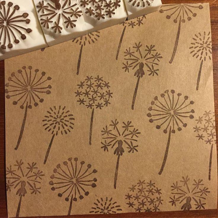 #消しゴムはんこ#はんこ#EraserStamp#stamp#craft#イラスト#illustration#ハンドメイド#handmade#手作り#雑貨#綿毛#DandelionSeeds