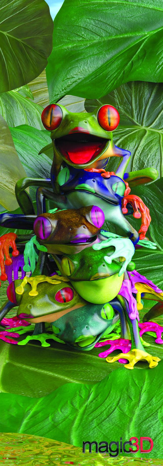 "Magic 3D Frogs - Bookmark/6"" Ruler #019"