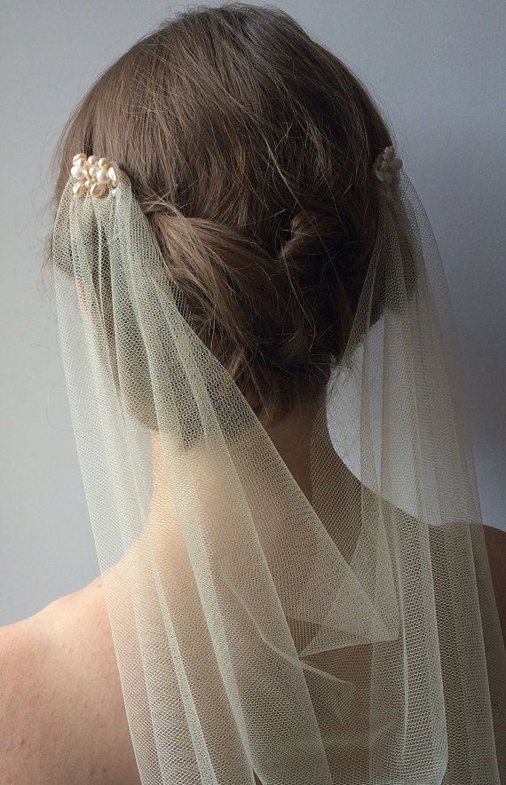 Pearl drape wedding veil 1920s style wedding by PelicanRoseBride
