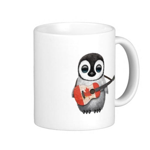Baby Penguin Playing Canadian Flag Guitar Coffee Mug
