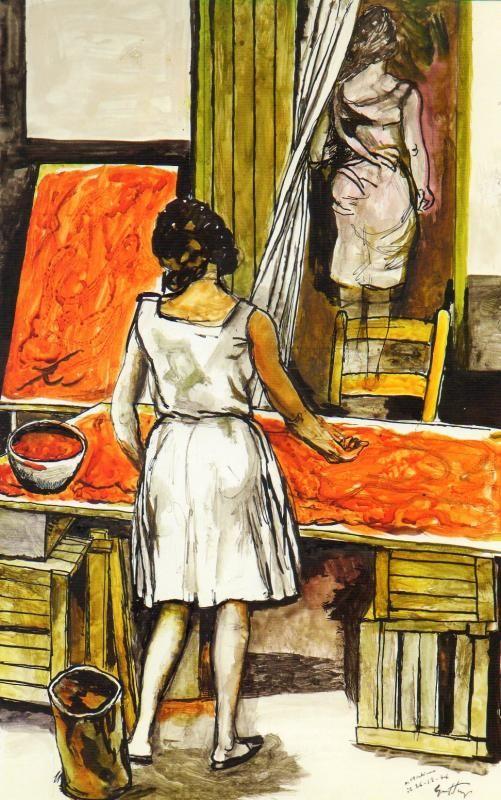 Renato Guttuso - senza titolo, 1976, gouache su carta, 697x44 cm