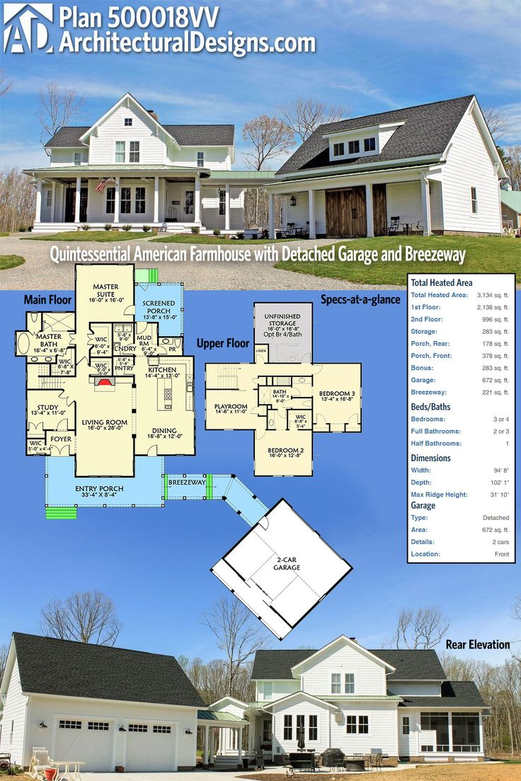Architectural Designs Quintessential American Farmhouse Plan 500018VV. This plan is simply put, perfect. This plan can have 3-4 bedrooms, 3+ baths at just over 3,100 sq. ft. It also includes a breezeway to the detached two car garage. Ready when you are. Where do YOU want to build?