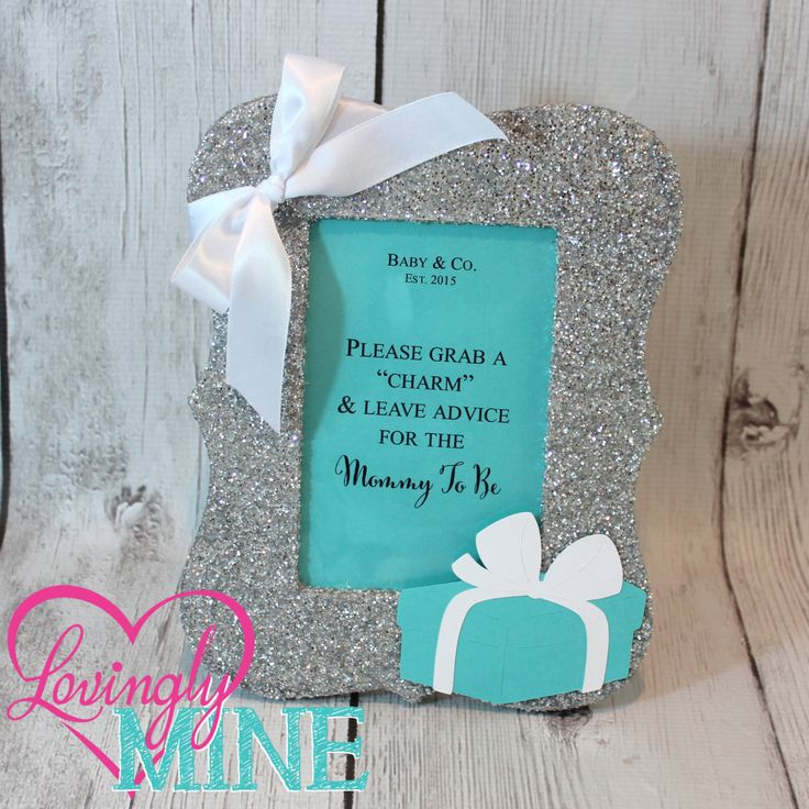 Designer Inspired Silver Glitter Frame, For Any Event, Tiffany & Co, Tiffany Blue, Baby Shower, Bridal Shower by LovinglyMine on Etsy