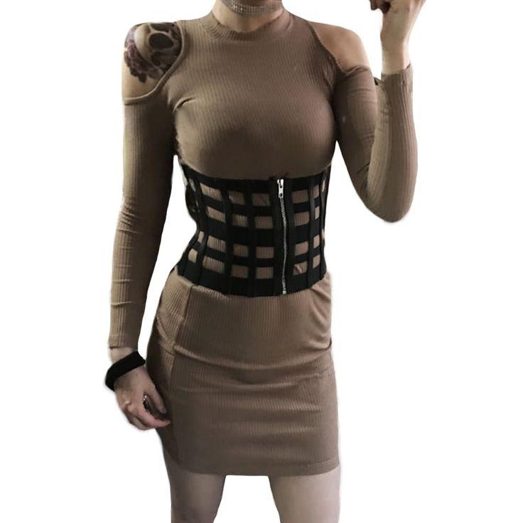 Sexy Women Corset Belt PU Leather Hollow Out Zip Elastic Sales Online black - Tomtop.com
