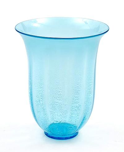 Light-blue glass vase serica no.1 with crackle and on applied glass stand design A.D.Copier 1928 executed by Glasfabriek Leerdam / the Netherlands