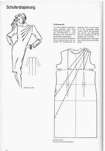 Illustration showing how to alter a standard sheath dress pattern to create multiple pleats on one shoulder.